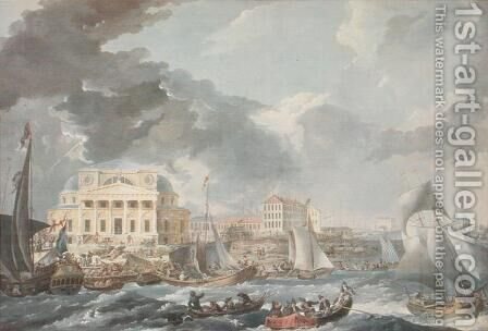 Stock Exchange in St. Petersburg, 1787 by Jean Balthazard de la Traverse - Reproduction Oil Painting