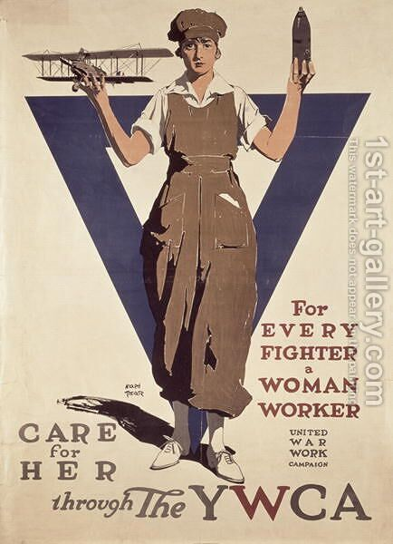 For Every Fighter a Woman Worker, 1st World War YWCA propaganda poster by Adolph Treidler - Reproduction Oil Painting