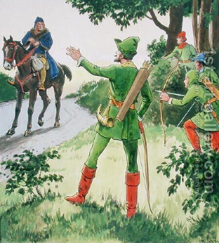 Robin Hood, from Peeps into the Past, published c.1900 by - Trelleek - Reproduction Oil Painting