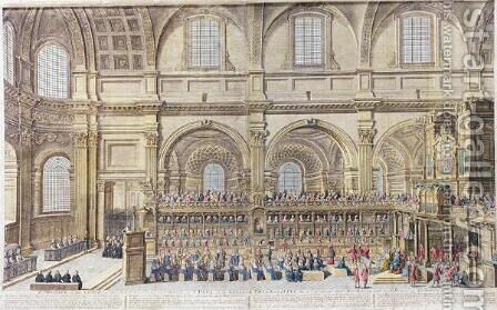 A Prospect of the Choir of the Cathedral Church of St. Paul, on the General Thanksgiving, the 31st of December 1706. Her Majesty and both Houses of Parliament present by (after) Trevett, Robert - Reproduction Oil Painting