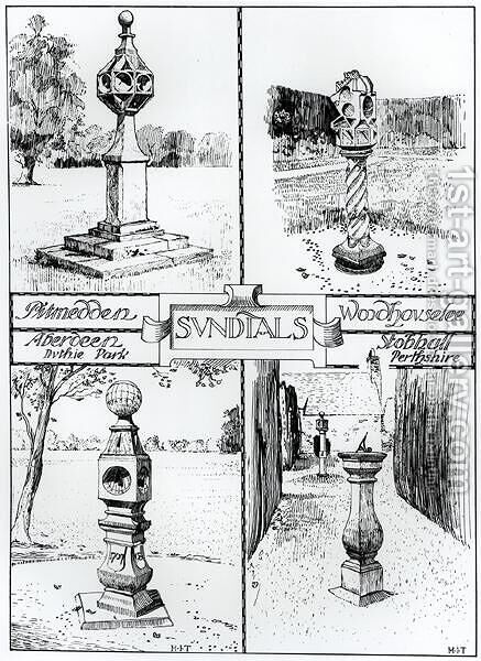 Sundials Pitmedden, Duthie Park, Aberdeen, Woodhouselee and Stobhall, Perthshire, c.1900 by Harry Inigo Triggs - Reproduction Oil Painting