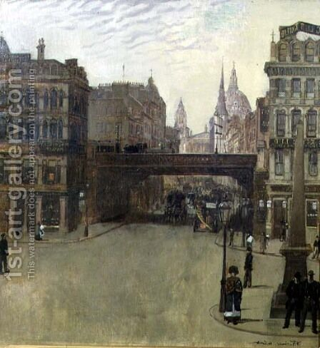 Ludgate Hill, 1884 by Heinrich Wilhelm Truebner - Reproduction Oil Painting