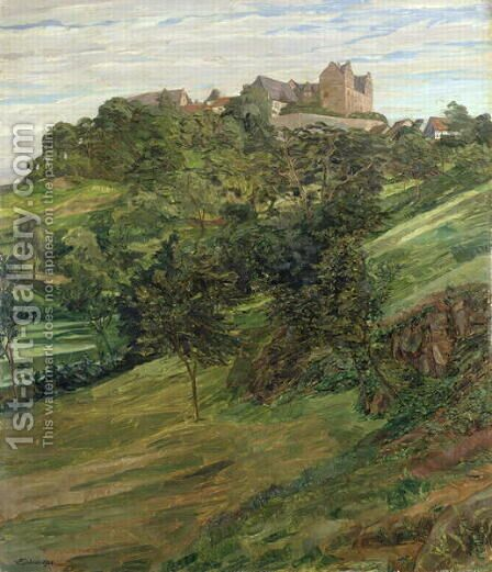 Lichtenberg Castle in Odenwald, 1900 by Heinrich Wilhelm Truebner - Reproduction Oil Painting