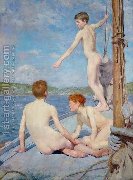 The Bathers, 1889 by Henry Scott Tuke - Reproduction Oil Painting