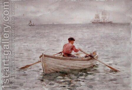 The Waterman and His Boat, 1921 by Henry Scott Tuke - Reproduction Oil Painting