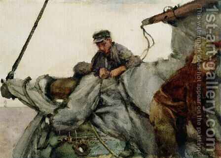 Working on the Sail, 1887 by Henry Scott Tuke - Reproduction Oil Painting