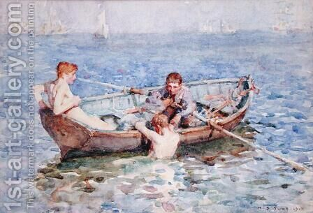 August Blue, c.1911 by Henry Scott Tuke - Reproduction Oil Painting