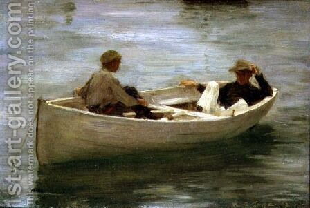 In the Rowing Boat, 1898 by Henry Scott Tuke - Reproduction Oil Painting