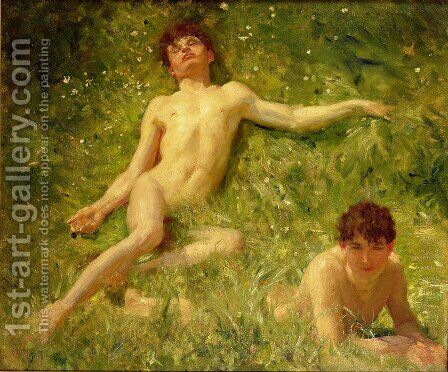 The Sunbathers by Henry Scott Tuke - Reproduction Oil Painting