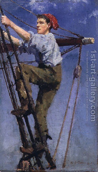 Going Aloft, c.1886 by Henry Scott Tuke - Reproduction Oil Painting