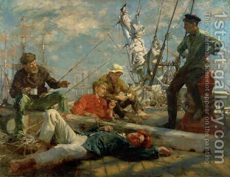The Midday Rest Sailors Yarning, 1906 by Henry Scott Tuke - Reproduction Oil Painting