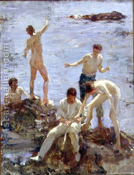 Boys Bathing, 1907 by Henry Scott Tuke - Reproduction Oil Painting