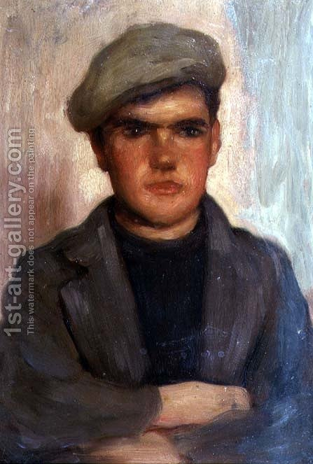 Boy Wearing a Cap by Henry Scott Tuke - Reproduction Oil Painting