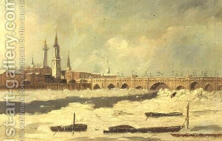 Old London Bridge during the Frost of 1795-96 by Daniel Turner - Reproduction Oil Painting