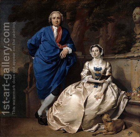 Portrait of George Michael Moser 1706-83 and his wife, Mary Guynier, c.1742 by Carl Marcus Tuscher - Reproduction Oil Painting