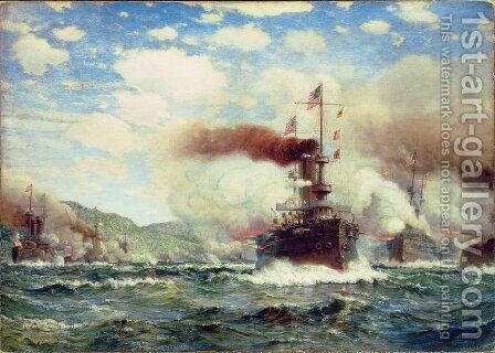 Naval Battle Explosion by James Gale Tyler - Reproduction Oil Painting