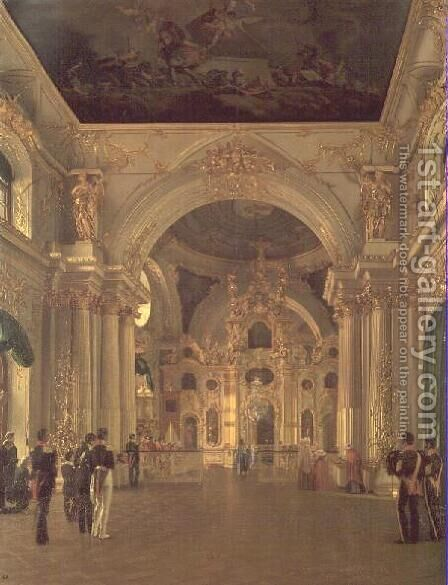 Interior of the Great Church in the Winter Palace, 1829 by Alexei Vasilievich Tyranov - Reproduction Oil Painting