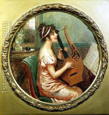 The Lute Player by Cesare Saccaggi - Reproduction Oil Painting