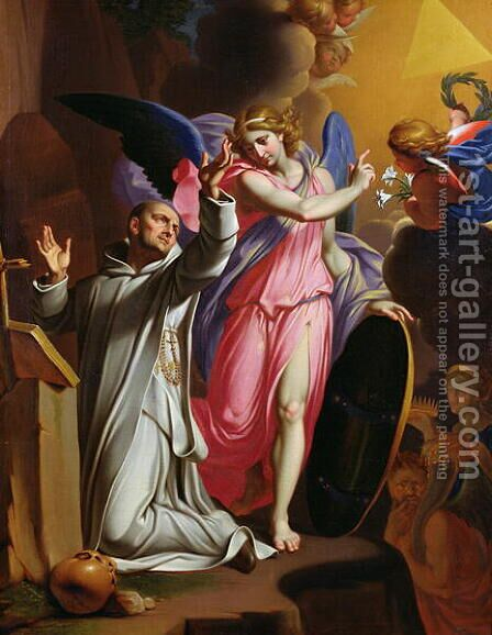 St. Bruno at Prayer, 1671 by Adrien Sacquespee - Reproduction Oil Painting