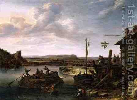 River Landscape by Herman Saftleven - Reproduction Oil Painting
