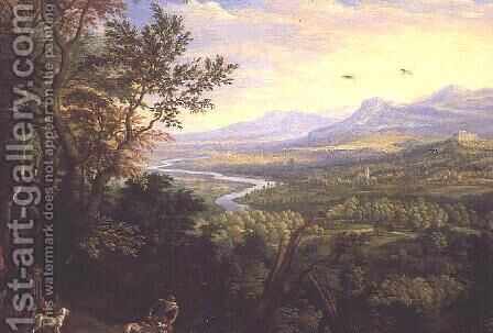 River Landscape, 1680s by Herman Saftleven - Reproduction Oil Painting