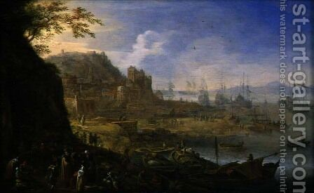 Rhenish Landscape with Merchants and Sailors on a Landing Stage, c.1665 by Herman Saftleven - Reproduction Oil Painting