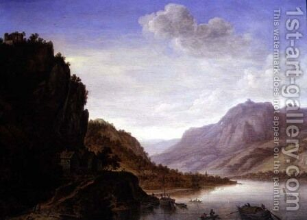 Mountainous River Landscape by Herman Saftleven - Reproduction Oil Painting