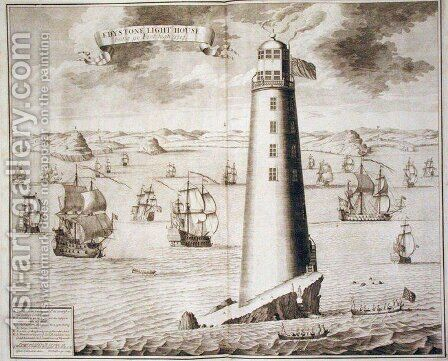 The Eddystone Lighthouse, engraved by Hendrick Hulsbergh, 1713 by Isaac Sailmaker - Reproduction Oil Painting