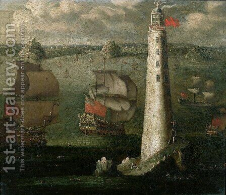 Men-o-War and other Vessels before the Eddystone Lighthouse by Isaac Sailmaker - Reproduction Oil Painting