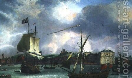 View of Greenwich with shipping by Isaac Sailmaker - Reproduction Oil Painting