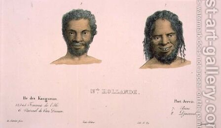 Djacamel and Bam, portraits of Tasmanian and Australian aborigines, plate 12 of Voyage de la corvette lAstrolabe. Atlas historique, engraved by Hippolyte Louis Garnier 1802-55, 1833 by (after) Sainson, Louis Auguste de - Reproduction Oil Painting