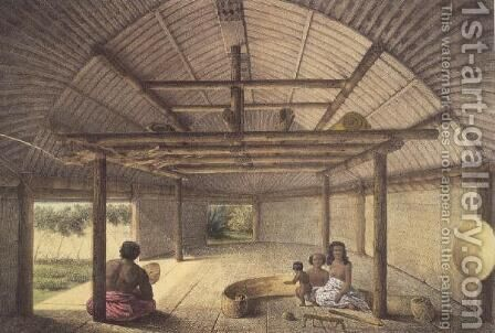 Interior view of the house of Chief Palous wives, Tonga Tabou, plate 73 from Voyage de la corvette lAstrolabe. Atlas historique, engraved by Jules David, pub. 1833 by (after) Sainson, Louis Auguste de - Reproduction Oil Painting