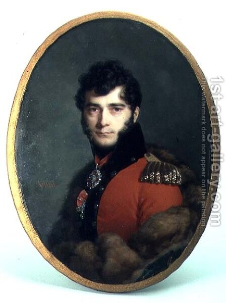 Portrait of a Man in a Red Uniform by Daniel Saint - Reproduction Oil Painting
