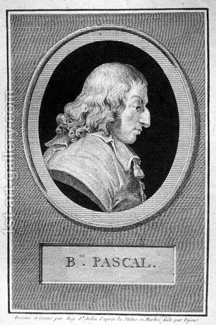 Blaise Pascal 1623-62 by Augustin de Saint-Aubin - Reproduction Oil Painting