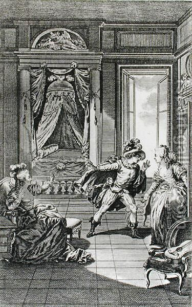 I am going to kill him..., scene from act II of The Marriage of Figaro by Pierre-Augustin Caron de Beaumarchais 1732-99 engraved by Claude Nicolas Malapeau 1755-1803 1785 by Jacques-Philip-Joseph de Saint-Quentin - Reproduction Oil Painting
