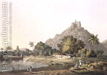 Pagodas at Trinchicunum, plate XI, engraved by Daniel Havell 1785-1826 1809 by (after) Salt, Henry - Reproduction Oil Painting
