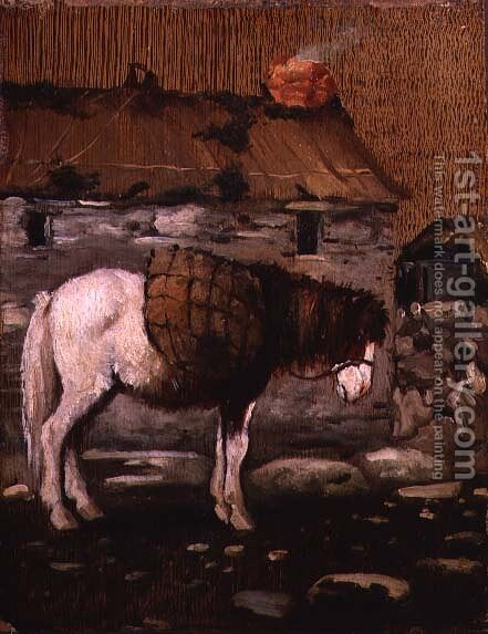 Pony Waiting Outside a Cottage by Anonymous Artist - Reproduction Oil Painting