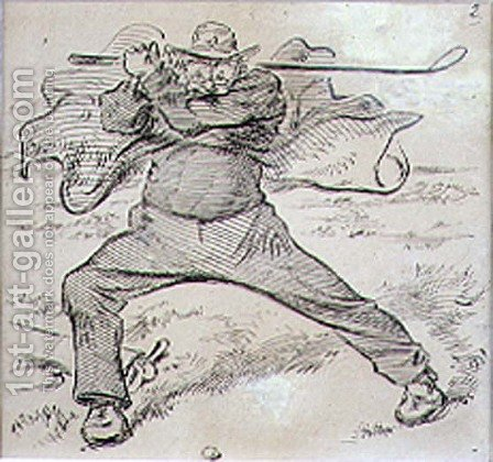 The Chaotic Golfer, illustration from Graphic magazine, pub. c.1870 by Henry Sandercock - Reproduction Oil Painting