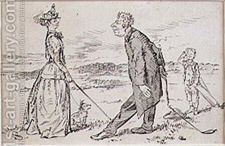 The Courteous Golfer, illustration to Graphic magazine, pub. c.1870 by Henry Sandercock - Reproduction Oil Painting