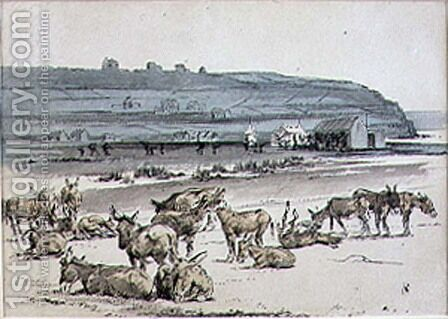 Donkeys on the Golf Course, illustration from Graphic magazine, pub. c.1870 2 by Henry Sandercock - Reproduction Oil Painting