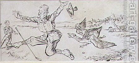 The Attacked Golfer, illustration from Graphic magazine, pub. c.1870 by Henry Sandercock - Reproduction Oil Painting