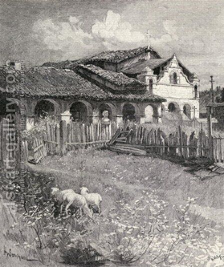 Mission San Antonio de Padua, Jolon, California, from the book The Century Illustrated Monthly Magazine, May to October, 1883 by Henry Sandham - Reproduction Oil Painting