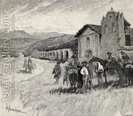 Mission Santa Ynez or Ines, Solvang, California, from the book The Century Illustrated Monthly Magazine, May to October, 1883 by Henry Sandham - Reproduction Oil Painting