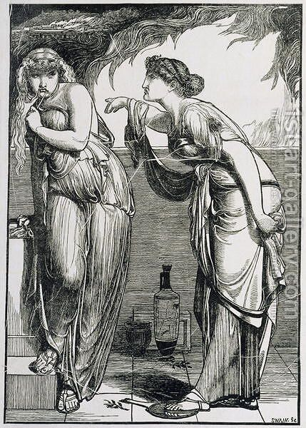 Helen and Cassandra, 1866 by Anthony Frederick Sandys - Reproduction Oil Painting