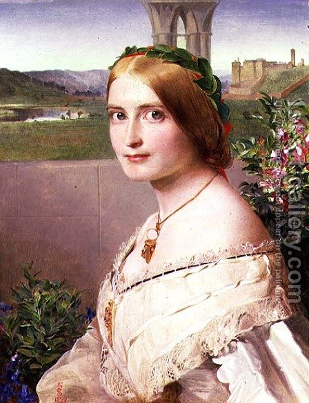 Portrait of Adelaide Mary, Mrs Philip Bedingfeld, 1859 by Anthony Frederick Sandys - Reproduction Oil Painting