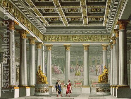 The Audience Hall in the Palace of Aegistheus, design for the ballet Orestes at La Scala Theatre, Milan, 1826 by Alessandro Sanquirico - Reproduction Oil Painting