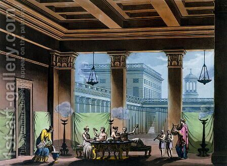 The Triclinium, from Le Costume Ancien et Moderne by Jules Ferrario, c.1820 by Alessandro Sanquirico - Reproduction Oil Painting