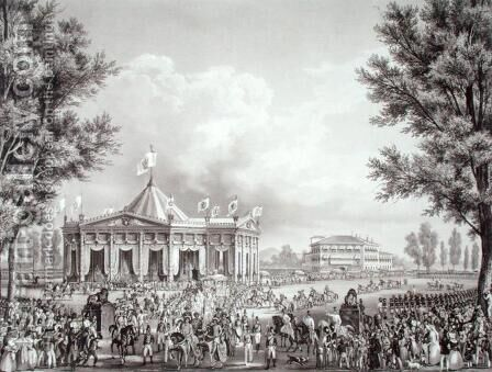 Procession passing the Pavilion erected for the Occasion of the Coronation of Ferdinand I 1793-1875, 1st September 1838, engraved by Falckeisen, from Incoronazione de SMIRA Ferdinando I, il Re del Regno Lombard-Veneto, published 1838 by Alessandro Sanquirico - Reproduction Oil Painting