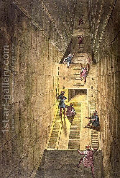 Exploration of the Great Pyramid of Giza, from Le Costume Ancien et Moderne by Jules Ferrario, engraved by Gaetano Zancon 1771-1816 by Alessandro Sanquirico - Reproduction Oil Painting
