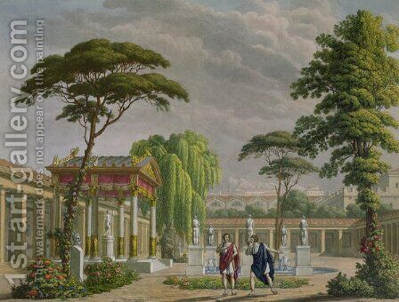 Gardens of the House of Diomede at Pompeii, decoration for the opera The Last Days of Pompeii by Giovanni Pacini 1796-1867, performed at La Scala, Milan, 1827 by Alessandro Sanquirico - Reproduction Oil Painting